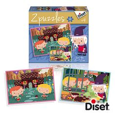 4 AÑOS_PUZLE LA CASITA DE CHOCOLATE 2 puzles de 48 piezas, del cuento clásico de La Casita de Chocolate. Ilustraciones representando las escenas principales del cuento, con los personajes conocidos por los más pequeños.