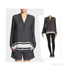 Vince oversized print half plaket silk blouse Very sleek oversized Vince print half placket 100% silk blouse. Black/nature. Mandarin collar. Long sleeves. Front button closure. Back inverted pleats. Colorblock hem. Worn a few times and in a good condition. Vince Tops