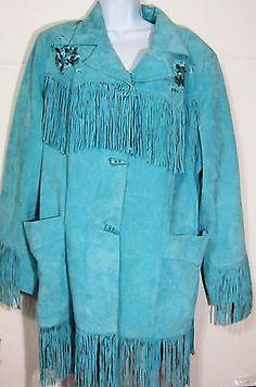Denim Leather Fringe Western Coat Blue/Turquoise Denim 24/7 20W Plus Size