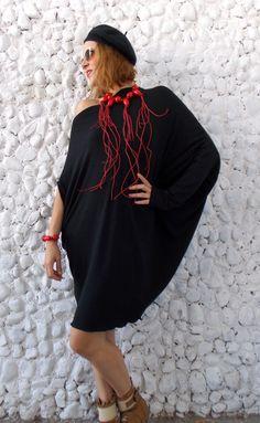 Black Asymmetric Dress Tunic / Summer Black Dress with Necklace and Bracelet / Asymmetrical Extravagant Tunic Dress TDK68 https://www.etsy.com/listing/194940794/black-asymmetric-dress-tunic-summer?utm_campaign=crowdfire&utm_content=crowdfire&utm_medium=social&utm_source=pinterest