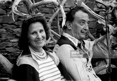 The Spanish painter Salvador Dali with his wife Gala, 1962, Cadaques, Spain. January 01, 1962
