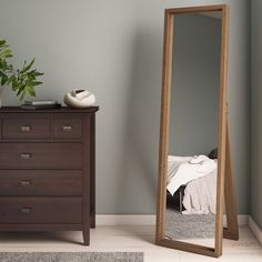 Kenna Standing Shadow Box Decor Mirror in Natural - Simpli Home AXCMKEN-NMake sure that you look perfectly put together before stepping out of your home with the Kenna Standing Mirror. Add a classic accent to your bedroom or closet with this full-length m Full Body Mirror, Make A Full Length Mirror, Standing Mirror, Mirrors Wayfair, Shadow Box Frames, Thing 1, Bedroom Decor, Bedroom Inspo, Master Bedroom