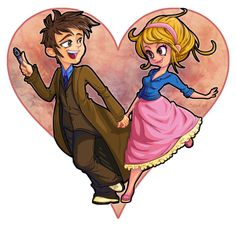 Doctor who - happy valentines by cute-loot on deviantart tenth doctor, doct Doctor Who Art, 10th Doctor, Dr Who, Rose And The Doctor, Rose Tyler, Billie Piper, Geronimo, Bad Wolf, David Tennant