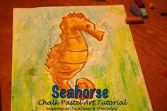 "Seahorse Chalk Pastel Tutorial at www.me ""use your favorite blues and aqua colors to let this seahorse ride the water proudly! Chalk Pastel Art, Chalk Pastels, Chalk Art, Oil Pastels, Art For Kids, Crafts For Kids, Arts And Crafts, Creative Activities, Ocean Activities"