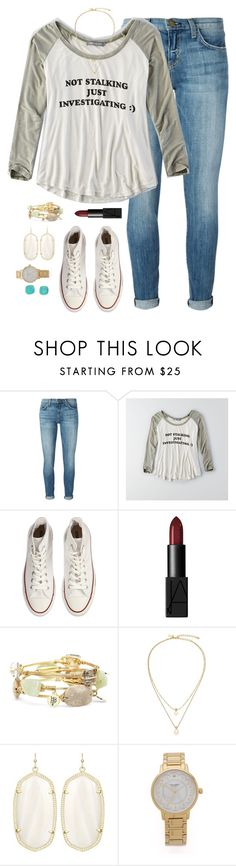 """Not stalking just investigating:)"" by kaley-ii ❤ liked on Polyvore featuring Current/Elliott, American Eagle Outfitters, Converse, NARS Cosmetics, Bourbon and Boweties, Kate Spade and Kendra Scott"