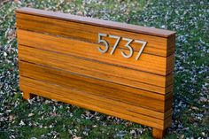 mid century modern house number sign by RealSimpleWood on Etsy Modern Exterior, Interior Exterior, Exterior Design, Exterior Paint, Modern Landscape Design, Modern House Design, House Landscape, Restaurant Signs, Building A Porch