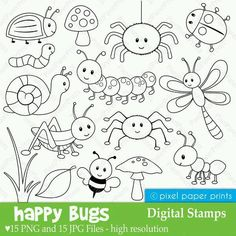 Happy Bugs – Digital Stamps Are you looking for cute high quality images to use in your projects? You've come to the right place! You can print these digital stamps to create coloring pages. Clipart, Embroidery Patterns, Hand Embroidery, Machine Embroidery, Busy Book, Digi Stamps, For Your Party, Colouring Pages, Fairy Coloring
