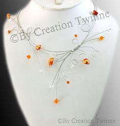 orange necklacebridal necklace bridesmaids gifts by creationtwinne Bridal Necklace, Wedding Jewelry, Orange Necklace, Orange Crystals, Swarovski Crystal Necklace, Unique Wedding Favors, Crystal Wedding, Perfect Wedding, Necklaces