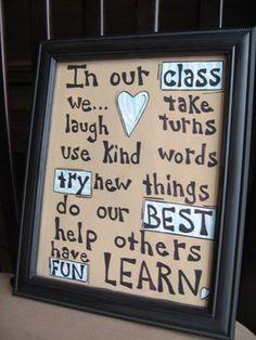 Hand Painted Framed Classroom Rules Sign  #classroomsign #classroomposter #classroom decoration #school #teachergift #teachinggift #giftforteacher