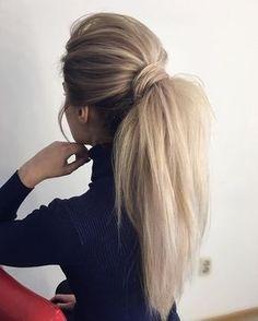 Gorgeous Ponytail Hairstyle Ideas That Will Leave You in FAB Wunderschöne Pferdeschwanz Frisur Ideen Cute Ponytail Hairstyles, Wavy Ponytail, Cute Ponytails, Winter Hairstyles, Pretty Hairstyles, Wedding Hairstyles, Hairstyle Ideas, Perfect Ponytail, Ponytail Ideas