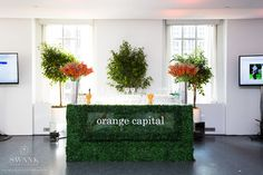 Planned, Designed & Produced by www.swankproductions.com orange capital #swankproductions #corporateparty #620loftandgarden #chic #party #eventplanner #bestofthebest #nyc #reception #colorful #decor #lounge #fun #flowers #rooftop #orange #bar #ideas #inspiration #beautiful #trees #green #grass #sign #logo #lighting