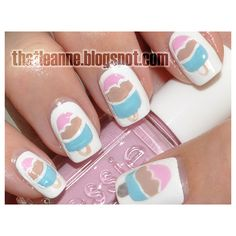 8 Ice Cream Nail Designs For The Coolest Summer Ever ❤ liked on Polyvore featuring nails and unhas