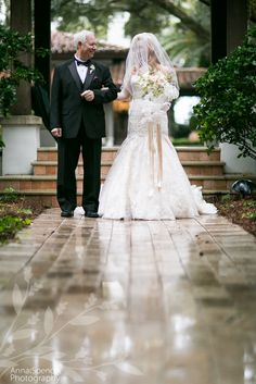 Anna and Spencer Photography, Atlanta Documentary Wedding Photographers. Father and bride about to walk down the aisle to her wedding ceremony at the Cloister Chapel on Sea Island.