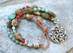 Triple Strand Carnelian, Aqua Terra Jasper and Amazonite Gemstone Bracelet