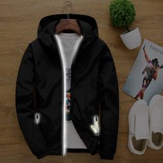 >> Click to Buy << Spring Summer Reflective Zipper Coat Men's Hood Jacket Fashion Solid Windbreaker Unisex Collage Casual Outwear Plus Size 051902 #Affiliate