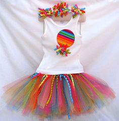 Girls Rainbow Bright Stripe Birthday Tutu Outfit - I think I can make this!!!