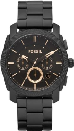 Fossil Men's FS4682 Stainless Steel Analog Black Dial Watch < $104.88 > Fossil Watch Men