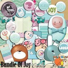 """Bundle of Joy $2.99  Soft and vintage colors for this baby kit.  Including : - 6 papers - 24 embellishments.  Des couleurs douces et un look """"Vintage"""" pour ce kit Bébé. Comprend : - 6 papiers - 24 éléments.  http://carolineb.fr/"""