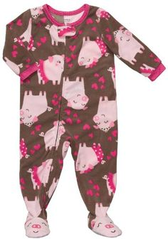 Carter's Girls Fleece Brown Pig and Hearts Footed « Clothing Impulse.Even if I have a boy he would so wear this! Baby Girl Pajamas, Carters Baby Girl, Baby Aspen, Girls Fleece, Baby Kids Clothes, Cute Outfits For Kids, S Girls, Baby Fever, Future Baby