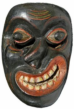 Disease demon mask, Sri Lanka. This mask is one of many used in Sanni yakuma, a traditional Sinhalese exorcism ritual. The ritual consists of 18 masks and 18 dances, each representing a particular illness or ailment.