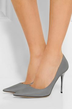 Heel measures approximately 100mm/ 4 inches Silver glittered satin-twill Slip on