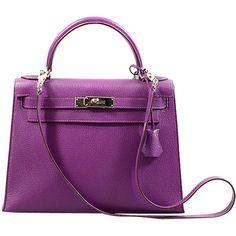 Hermes - Hermes Violette 28cm Chevre Kelly PHW ❤ liked on Polyvore featuring bags, handbags, hermes, borse, сумки, hermes handbags, hermès, purple handbags, purple bag and hermes bag
