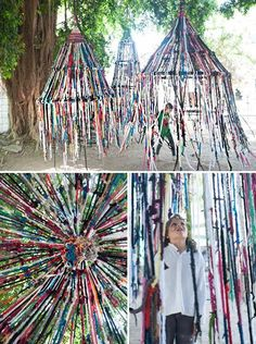 The intersection of art and finger knitting I saw this on Design Sponge over the weekend and was so wowed by it — both as a public art project and as a bit of DIY inspiration. It's the brainchild of architect Tali Buchler, who describes hers… Outdoor Art, Outdoor Play, Outdoor Lighting, Art For Kids, Crafts For Kids, Summer Crafts, Teen Crafts, Fall Crafts, Easter Crafts