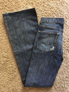 7 for All Mankind 27 Flare Seven Jeans Rhinestone Pockets 100 Cotton Classic   eBay