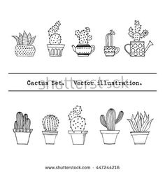 Cactus set in simple hand drawn style. Cute doodle potted cacti collection. Decorative houseplants. Vector illustration.