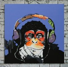 4cm Stretched Top Quality Handpainted Oil Painting Gorilla Modern Abstract Wall Painting Animal Canvas Painting No Frame canvas(China (Mainland))