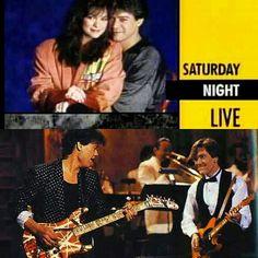 """LIVE FROM NEW YORK (FEBRUARY 1987),..28 YEARS AGO THIS MONTH IN VANTASTIK HISTORY,..EDDIE VAN HALEN AND THEN WIFE VALERIE BERTINELLI APPEARED ON SATURDAY NIGHT LIVE!"" #evh #eddievanhalen #alexvanhalen #diamonddave #davidleeroth #michaelanthony #Vintage #Klassik #Classic #Rock #Music #History #1980s #1987 #SaturdayNightLive #BehindTheScenes #ValerieBertinelli #vantastikhistory #Vantastik #VanHalen #vanhalenhistory"