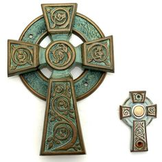 This Vintage Brass Door Knocker and Matching Doorbell are in the forms of Celtic Christian High Crosses.  These crosses are often highly decorated. The vines on these two crosses are traditional symbols of Ireland.