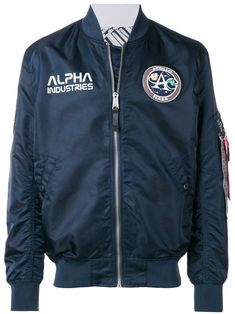Black logo patch bomber jacket from Alpha Industries featuring a band collar, a front zip fastening, long sleeves, side pockets, a ribbed hem and cuffs and a relaxed fit. Nasa Bomber Jacket, Black Bomber Jacket, Military Jacket, Alpha Industries Nasa, Industry Logo, Nasa Astronauts, Moon Landing, Fashion Brand, Women Wear