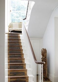 Modern staircase ideas - design and layout ideas to inspire your own staircase remodel, painted diy, decorating basement remodel pictures - staircase ideas Painted Staircases, Painted Stairs, Painted Floors, Modern Staircase, Staircase Design, Staircase Ideas, Staircase Runner, Staircase Makeover, Interior Stairs