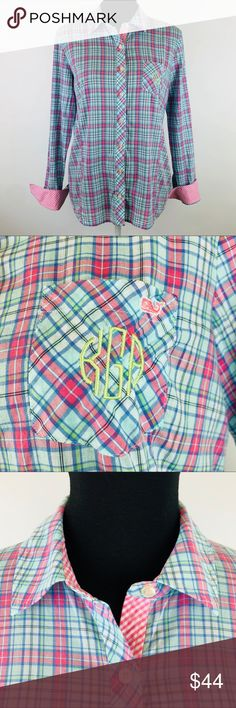 """Vineyard Vines Plaid Button Up Shirt Monogram KGA Size 6 100% Cotton Tab Sleeves with gingham accents Back waist is elasticized Front pocket has embroidered monogram KGA (I think it can be professionally removed)  Measurements taken while laid flat. Please refer to measurements for proper fit. Chest: 19"""" Length: 26"""" Vineyard Vines Tops Button Down Shirts"""