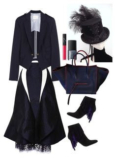 """""""Band of outsiders blazer"""" by thestyleartisan ❤ liked on Polyvore featuring Thom Browne, Band of Outsiders, Tamara Mellon, NARS Cosmetics, CÉLINE and suedeboots"""