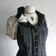 plus size steampunk for women | Women's Steampunk Black Top Upcycled Clothing Cream Tattered Shirt ...