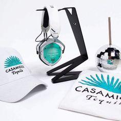 V-MODA Crossfade 2 Wireless headphones in matte white with custom Seafoam shields with laser engraved casamigos logo. Customize yours at V-MODA.com