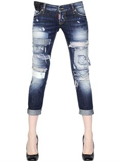 DSQUARED PAT SUPER PATCH WASH COTTON DENIM JEANS $ 835.00