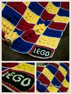 Lego blocks blanket for Uncle Danny