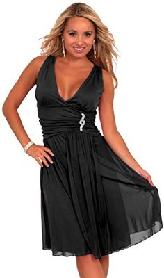 Sleeveless V Neck Rhinestone Sheer Layer Evening Party Cocktail Dress S M L *** More info could be found at the image url. (This is an affiliate link and I receive a commission for the sales)