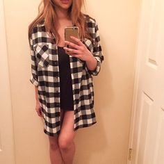 Black & White Oversized Plaid Button Down Worn once for a few hours. Still in brand new condition. Super comfy. Purchased in a medium to fit super oversized. Wore this unbuttoned with distressed denim shorts, a black tank, and combat boots. Only selling to make room in my overstuffed closet. Purchased at Nordstrom's intimates section last month. No trades. No PayPal. Tops
