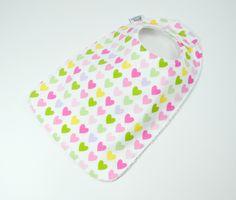 "Toddler Bib 10""x 17"",  1yr-3+ yrs Hearts bib,  Love, pink, green, purple yellow, 100% cotton, Valentines Day, Valentine Bib, True love by TextileTrolley on Etsy"