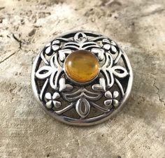 SPRING (SALE 50%) Sterling Celtic Citrine Brooch Claddagh hearts & clover sterling brooch / Sterling Pin . Irish/ Scots / Clan / Celtic Cai by TheOldJunkTrunk