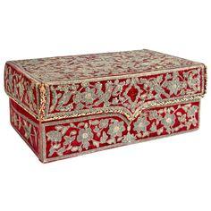 Fibre Art Box Made With Silks And Leaf Trim Fabric