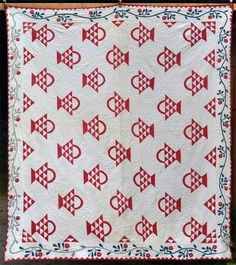Antique Red White Basket Quilted Quilt Hand Made 1800 Patchwork Applique 84 x 96  ...~♥~