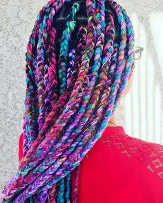 Awesome Box Braids Hairstyles: Rainbow Yarn Box Braids click now for info. Jumbo Box Braids Styles, Small Box Braids, Short Box Braids, Jumbo Braids, Braid Styles, Yarn Braids Styles, Long Braids, Diy Braids, Box Braids Hairstyles