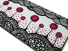 """""""Blossoms in dreamland"""" mixed media black, white, and pink flower doodle"""