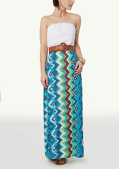image of Printed Tube Maxi Dress