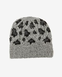 Eugenia Kim Leopard Knit Beanie Hat  Grey Knitted Animals be5562f7d44